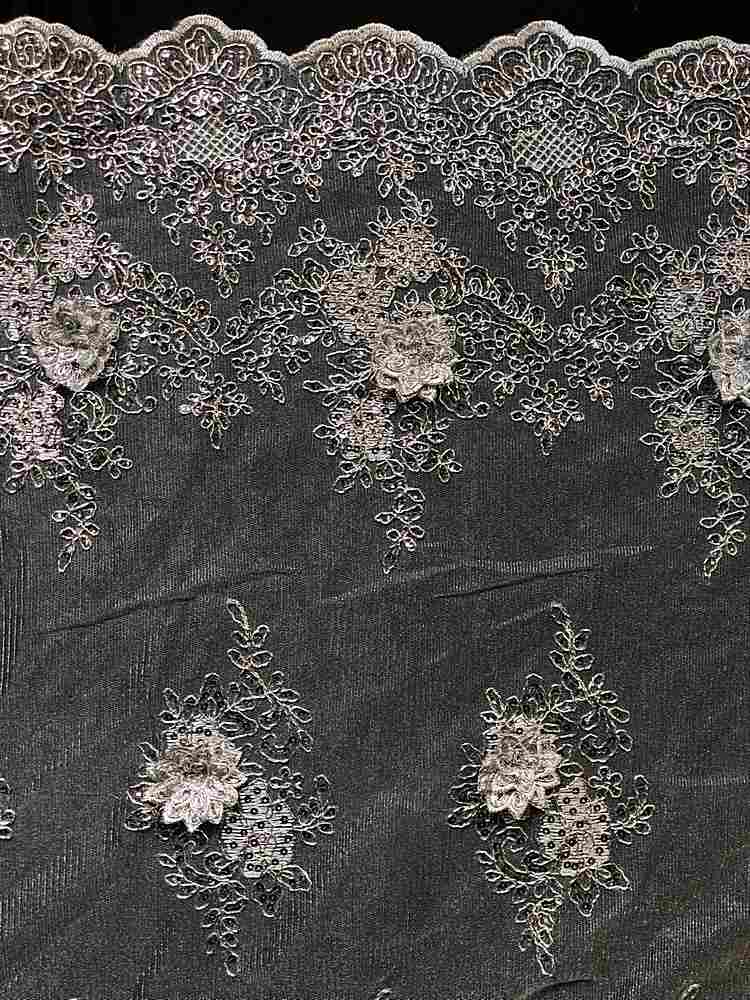 EMB-FA18-149D2 / SILVER METALIC / 3D MESH CORDED EMBROIDERY WITH SEQUINS ALL OVER