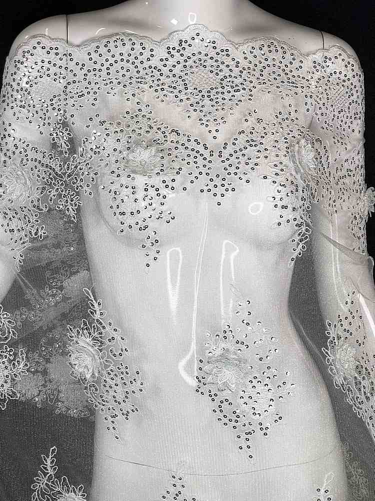EMB-FA18-149D2 / 01.WHITE / 3D MESH CORDED EMBROIDERY WITH SEQUINS ALL OVER