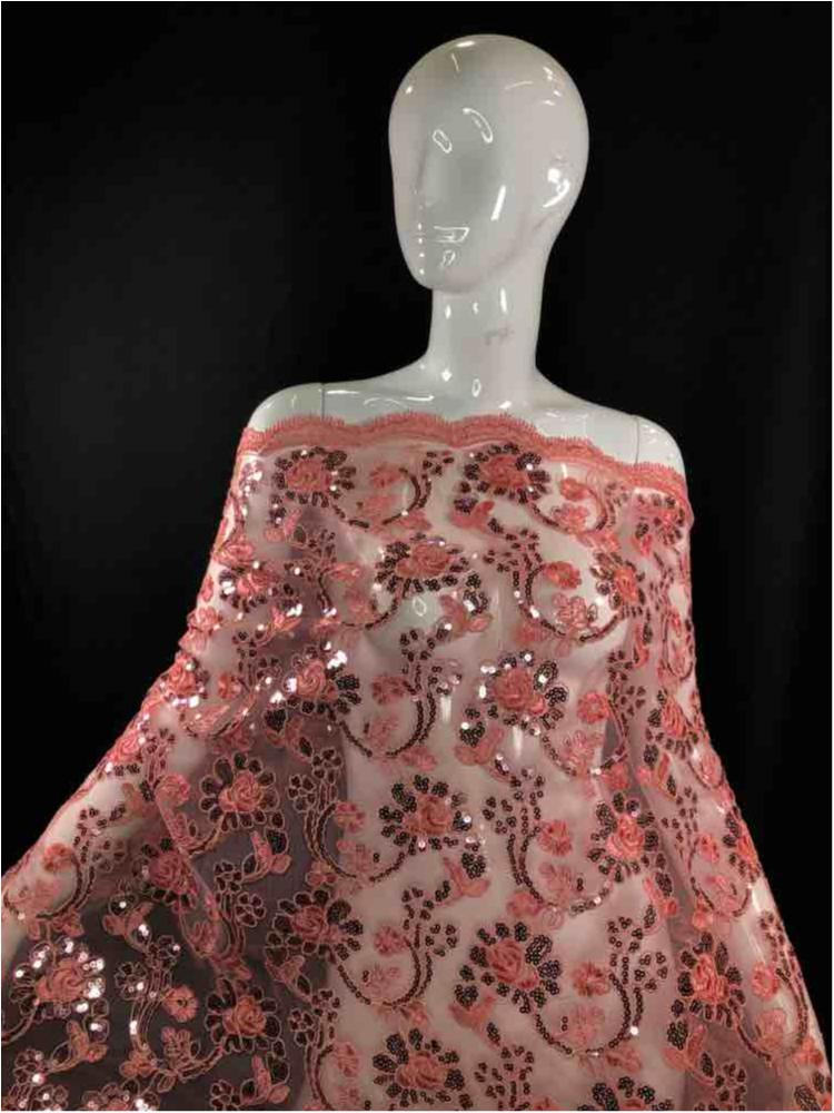 EMB-F1805-46 / 07.CORAL / MESH CORDED EMBROIDERY WITH SEQUINS ALL OVER