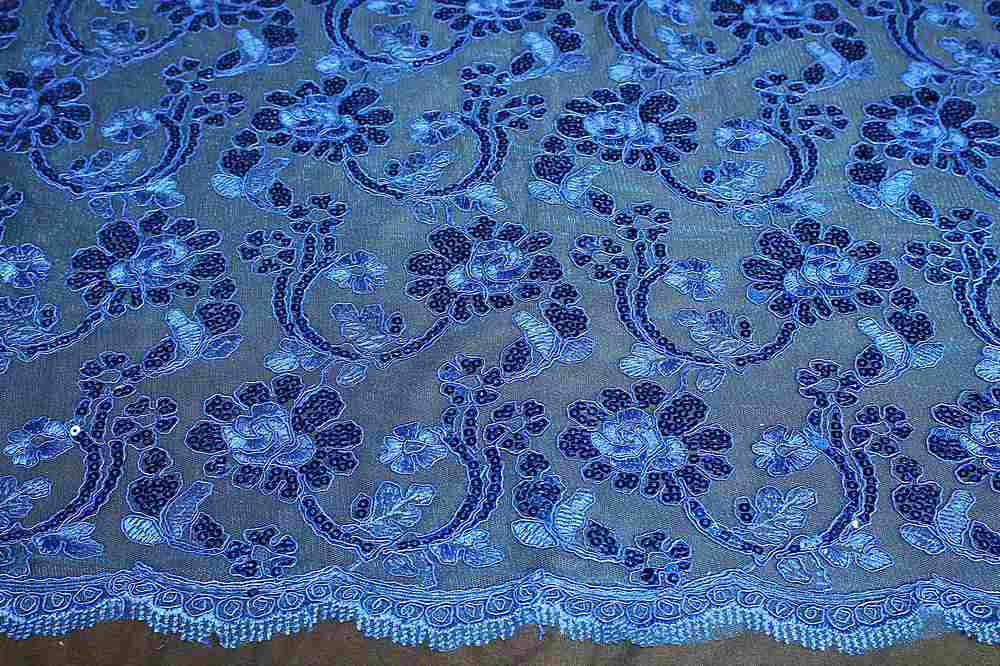 EMB-F1805-46 / 34.ROYAL / MESH CORDED EMBROIDERY WITH SEQUINS ALL OVER