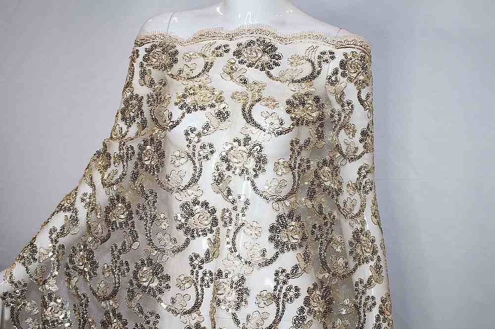 EMB-F1805-46 / GOLD METALLIC / MESH CORDED EMBROIDERY WITH SEQUINS ALL OVER