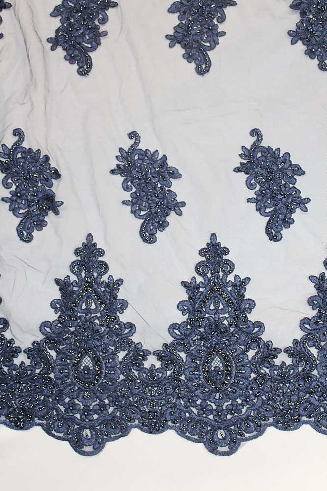 HEMB-809060 / 10-NAVY / HAND BEADED EMBROIDERY