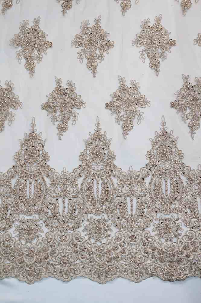 HEMB-809070 / 03-TAUPE / HAND BEADED EMBROIDERY