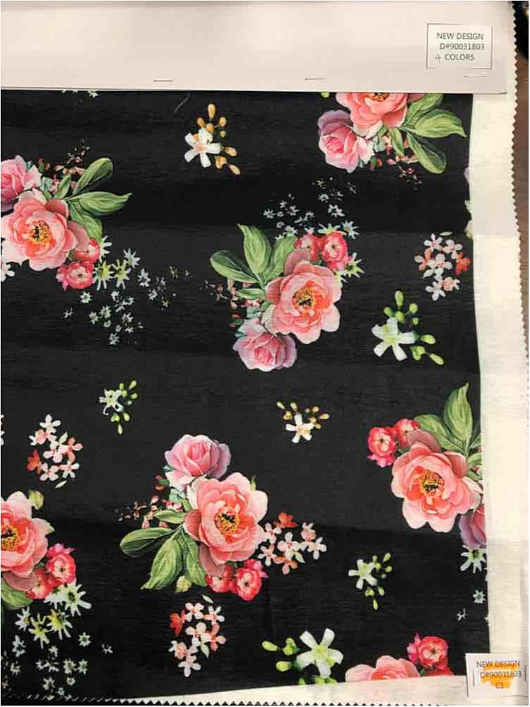 3300PR-90031803 / 01-BLACK / POLY SPANDEX TAFFETA DIGITAL PRINT