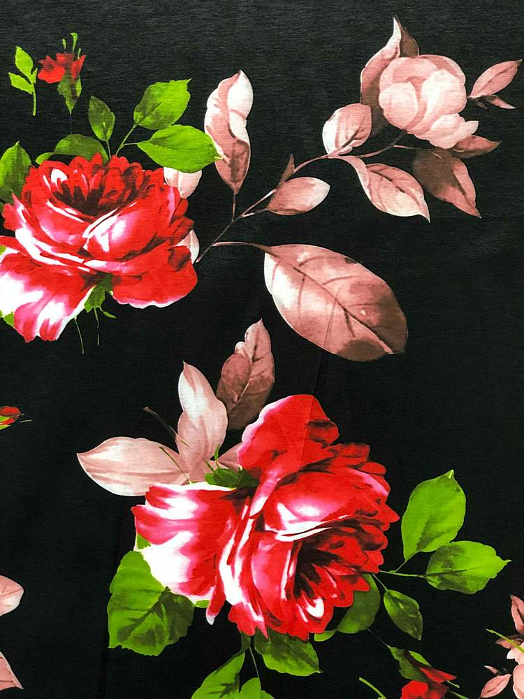 3300PR-90040106 / 01-BLACK / POLY SPANDEX TAFFETA DIGITAL PRINT