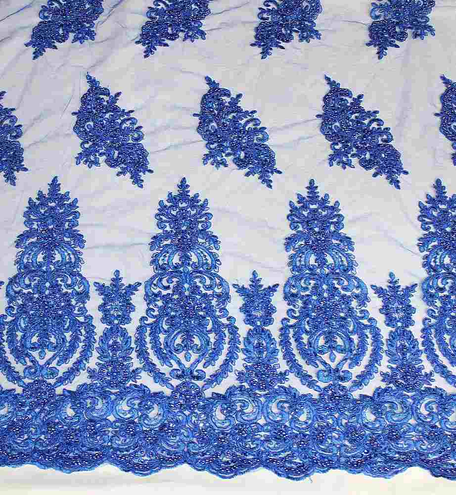 HEMB-JH-P19-981 / 34.ROYAL / Mesh With Hand Bead Embroidery All Over