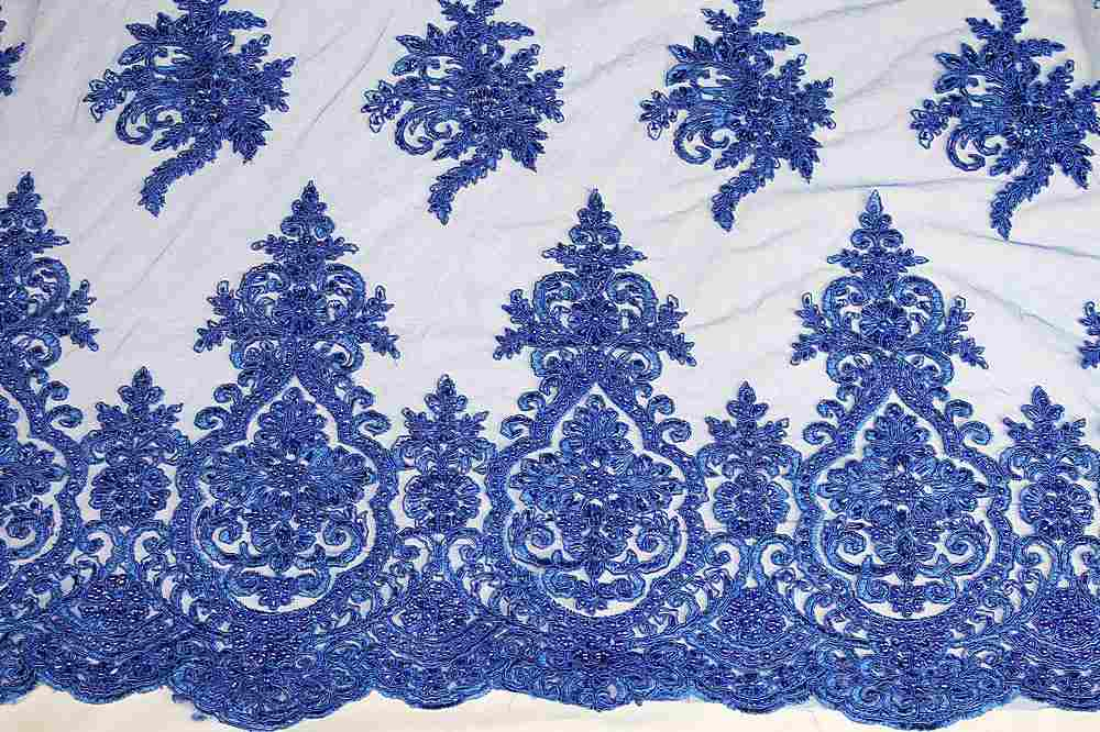 HEMB-JH-P19-980 / 34.ROYAL / Mesh With Hand Bead Embroidery All Over