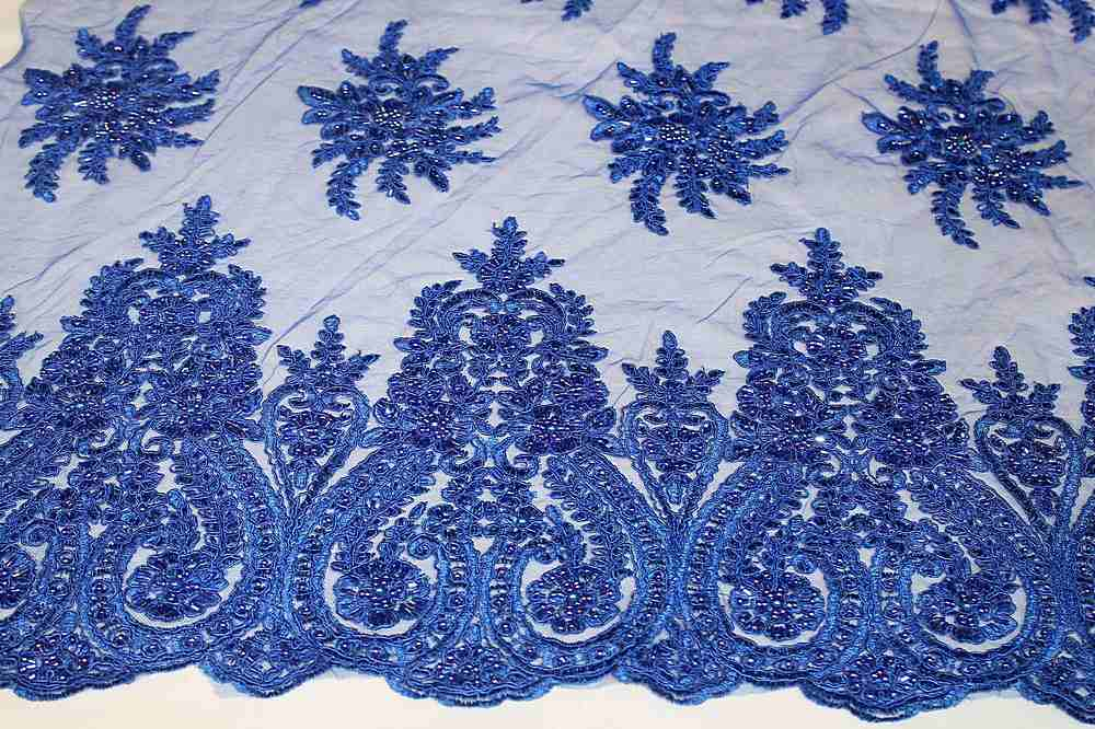 HEMB-JH-P18-97 / 34.ROYAL / Mesh Witg Hand Bead Embroidery All  Over