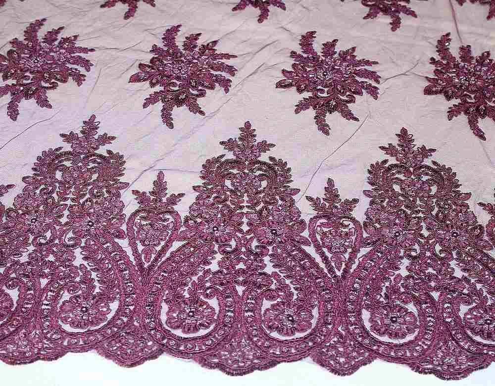 HEMB-JH-P18-97 / 13.EGG PLANT / Mesh Witg Hand Bead Embroidery All  Over