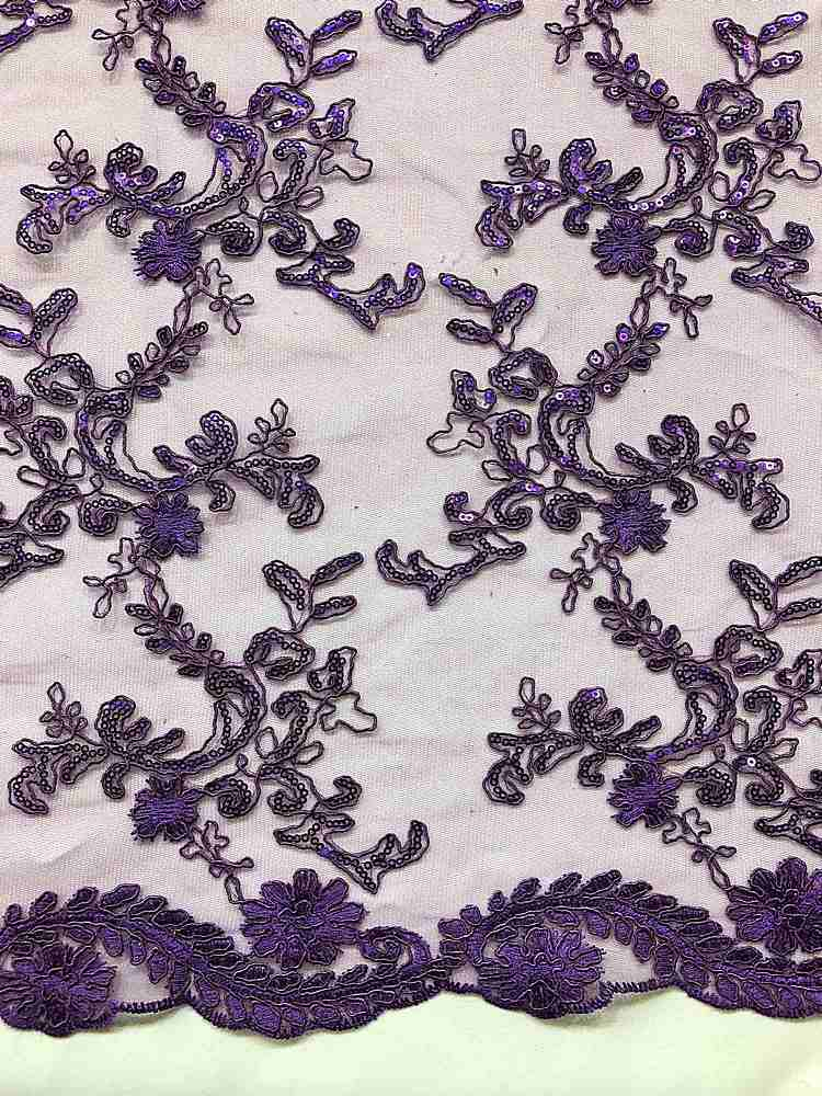 MEMB-25226 / 78-PURPLE / MESH WITH EMBROIDERY W/SEQUINS