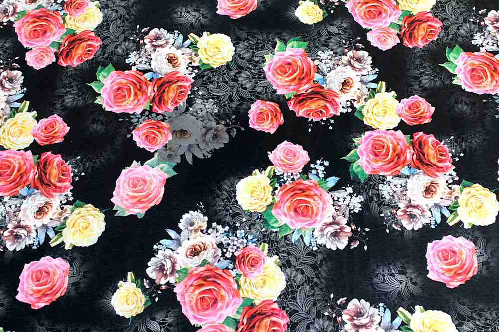 3300PR-90041316 / 02.BLACK / Poly Spandex Taffeta Digital Print