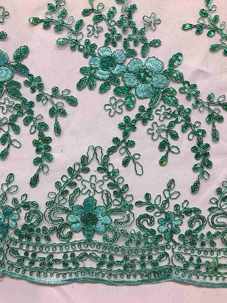 EMB-24100 / 07-MINT / MESH WITH METALLIC CORD AND SEQUINS EMBROIDERY