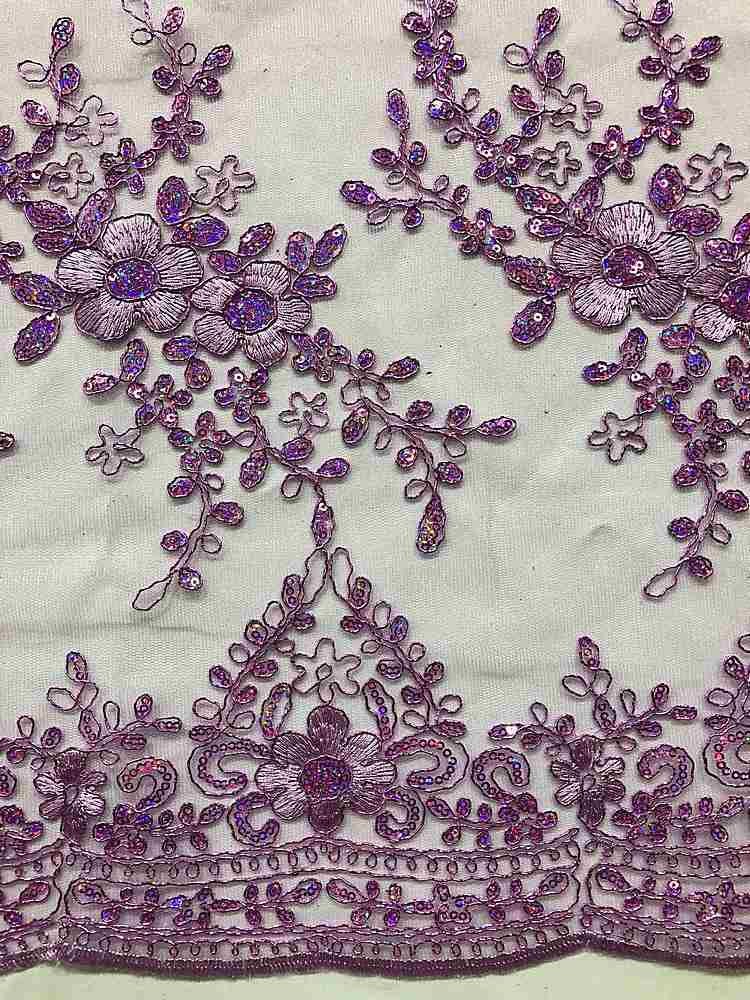 EMB-24100 / 08-LILAC / MESH WITH METALLIC CORD AND SEQUINS EMBROIDERY