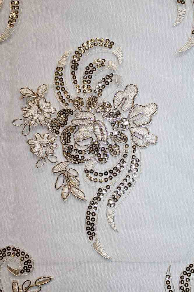 EMB-22-9 / NATURAL GOLD / FLOWER EMBROIDERY WITH SEQUINS