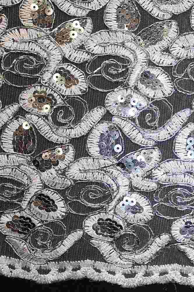 EMB-8083108 / WHITE/SILVER / Embroidery [Metallic Silver Cord]