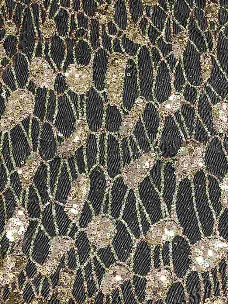 MSEQ-90060527 / GOLD / Mesh W/ Mix Sequins & Glitters
