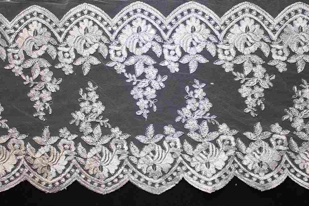 MEMB-0455784 / WHITE W/ SIL METALLIC / Embroidery Borders