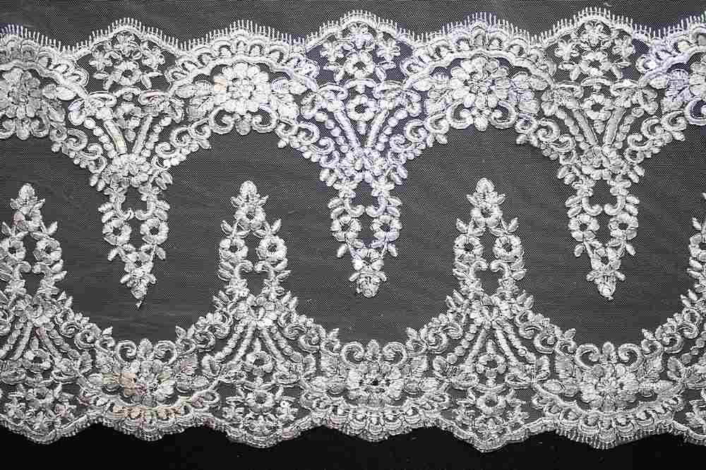 EMB-0455522 / WHITE W/ SILVER METALLIC / Embroidery Borders