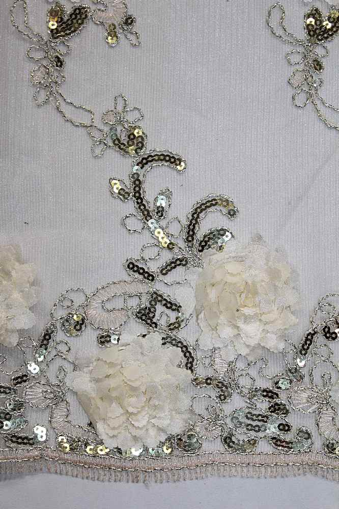 MEMB-2525 / 04-IVORY/GOLD SEQ / 3D MESH EMBROIDERY WITH SEQUINS