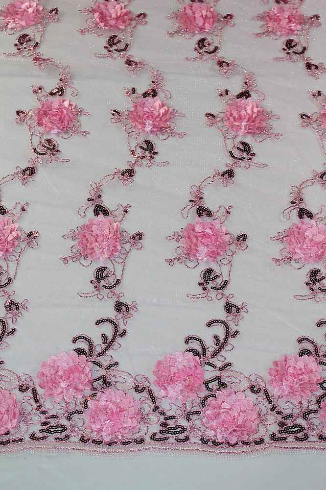 MEMB-2525 / 10-PINK / 3D MESH EMBROIDERY WITH SEQUINS