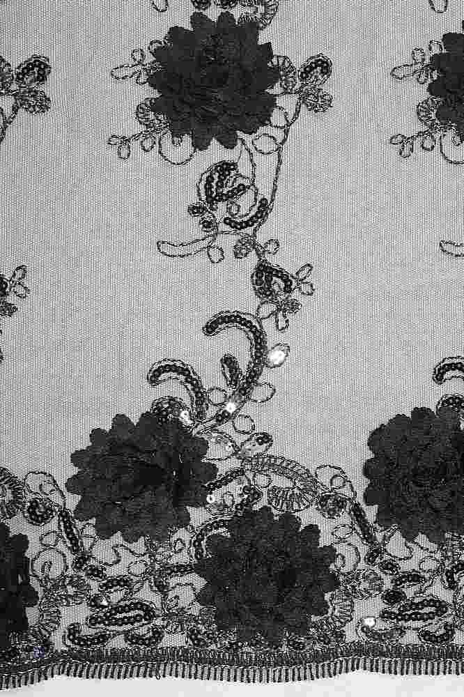 MEMB-2525 / 12-BLACK / 3D MESH EMBROIDERY WITH SEQUINS