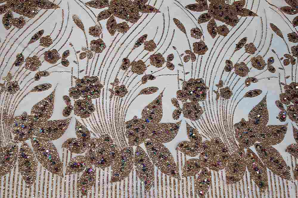 EMB-90062515 / ROSEGOLD / MESH EMBROIDERY WITH GLITTER