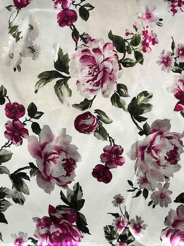 3300PR-90072701 / 01.OFF-WHITE / POLY SPANDEX TAFFETA DIGITAL PRINT WITH FOIL FLOWER