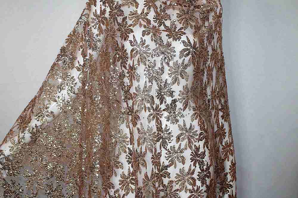 MSEQ-90062508 / 01.TAUPE / MESH WITH SEQUINS & GLITTER