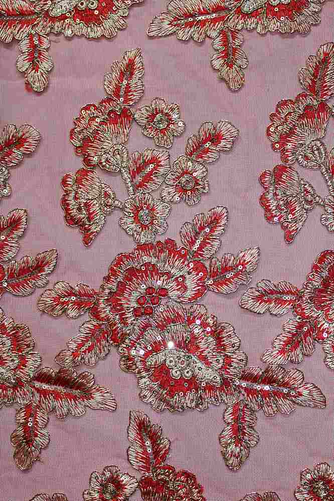 EMB-F195-53A / RED / MESH EMBROIDERY WITH METALLIC CORD AND SEQUINS