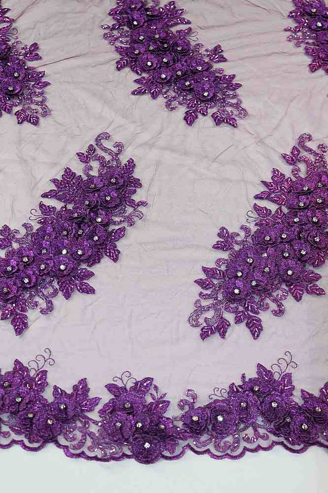 HEMB-JH-P17-529 / 09.PURPLE / HANd Bead Embroidery With 3d Floral and Diamond