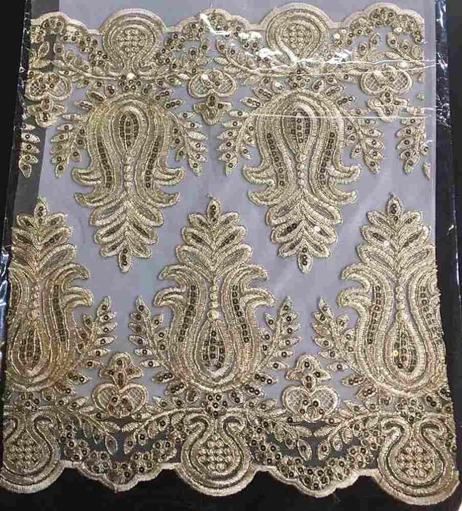 EMB-0455887 / 04.GOLD / Embroidery Borders With Sequins and Metallic Cord