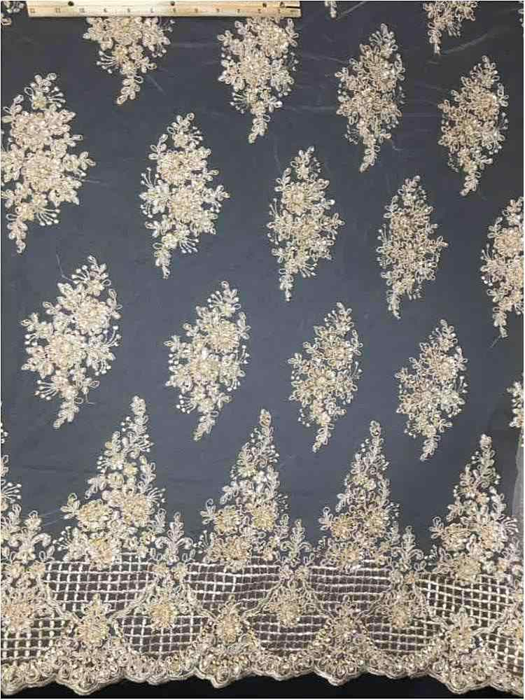 HEMB-FA17-597 / 06-TAUPE / MESH WITH HAND BEAD EMBROIDERY ALL OVER