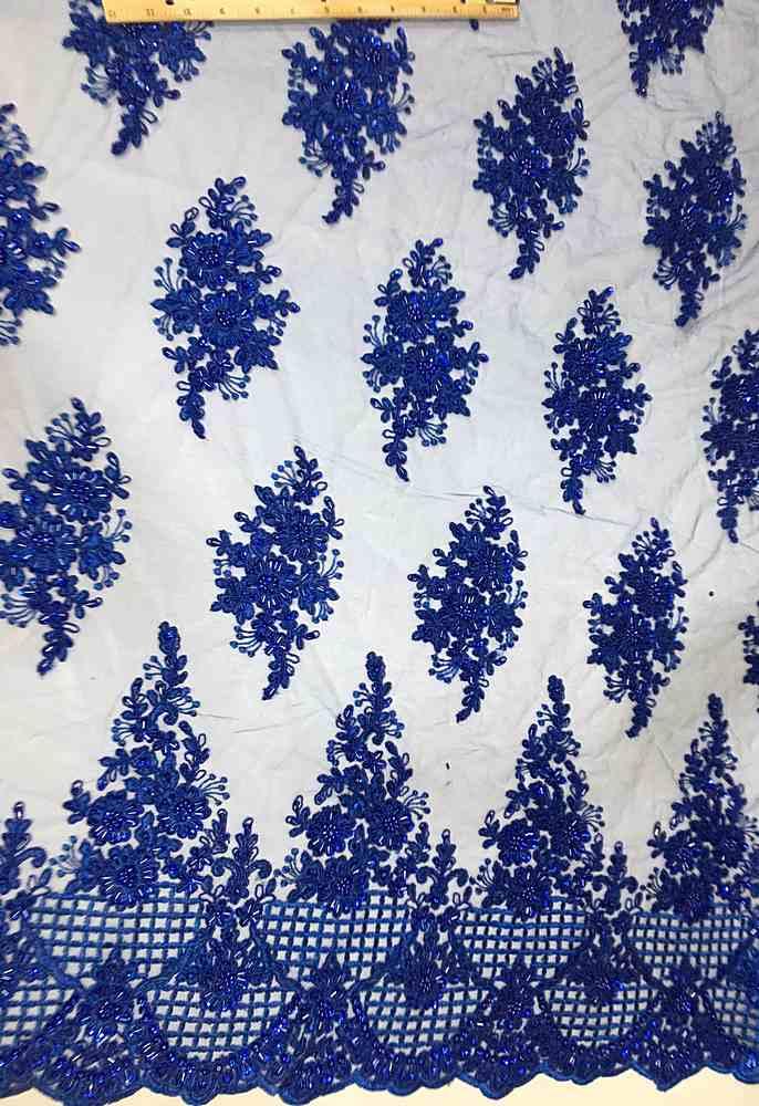 HEMB-FA17-597 / 09-ROYAL            / MESH WITH HAND BEAD EMBROIDERY ALL OVER