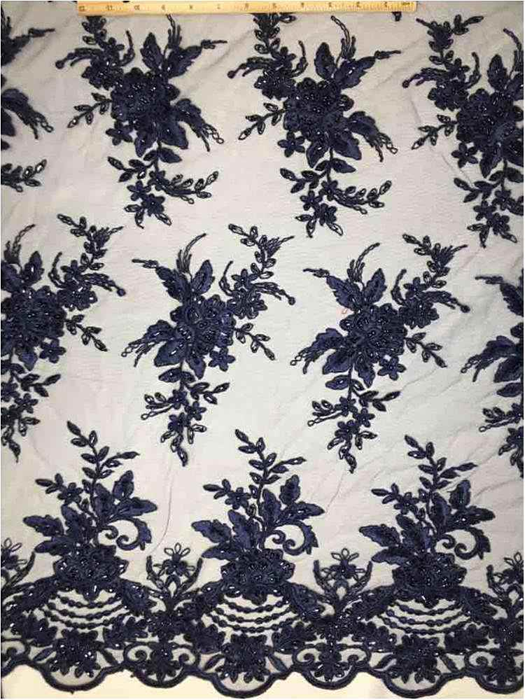 HEMB-1023D1 / 20-NAVY         / Mesh With Hand Bead Embroidery