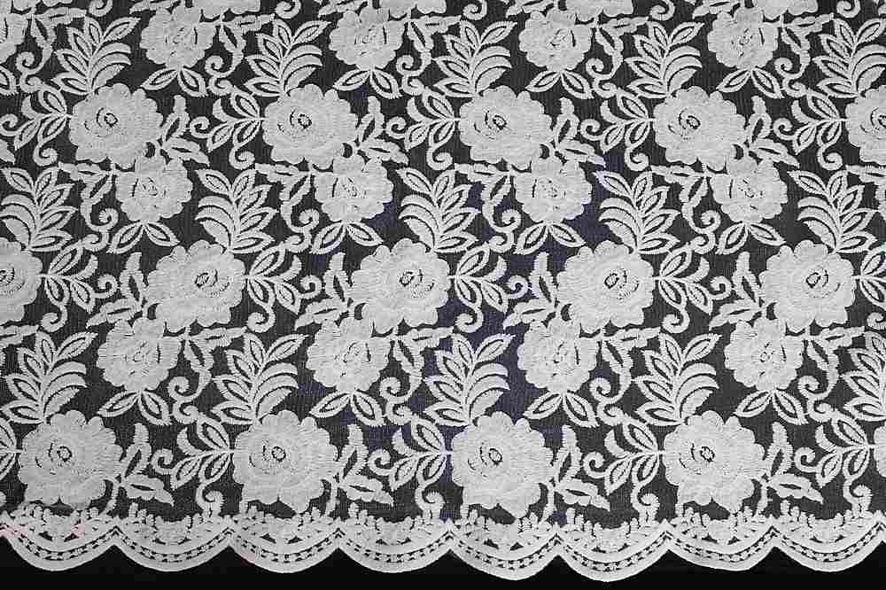 SEMB-0710D#1 / WHITE / MESH WITH MILKY YARN EMBROIDERY ALL OVER