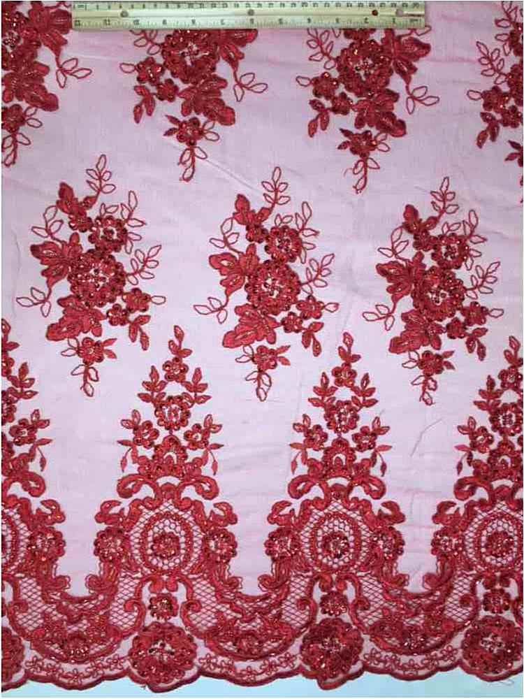 HEMB-1101D4 / 15-RED         / MESH WITH HAND BEAD AND CORD EMBROIDERY