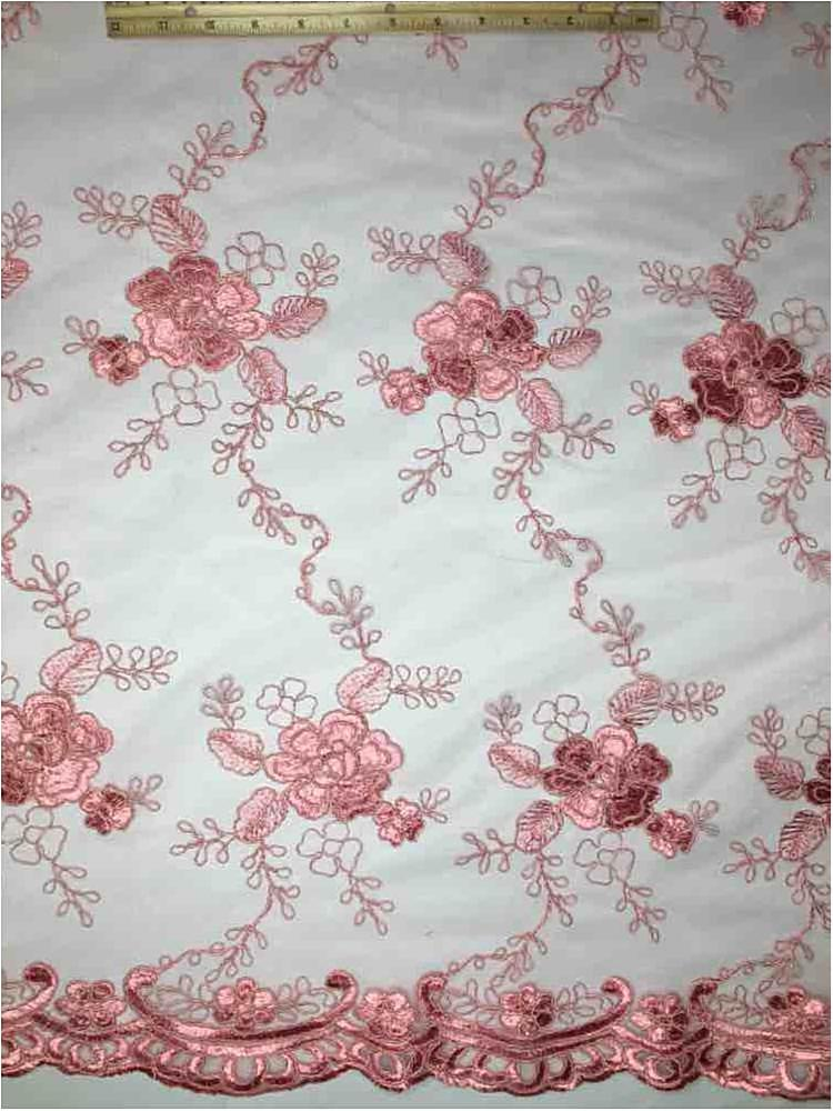 MEMB-112114 / 53-DUSTY ROSE / MESH WITH CORD EMBROIDERY ALL OVER