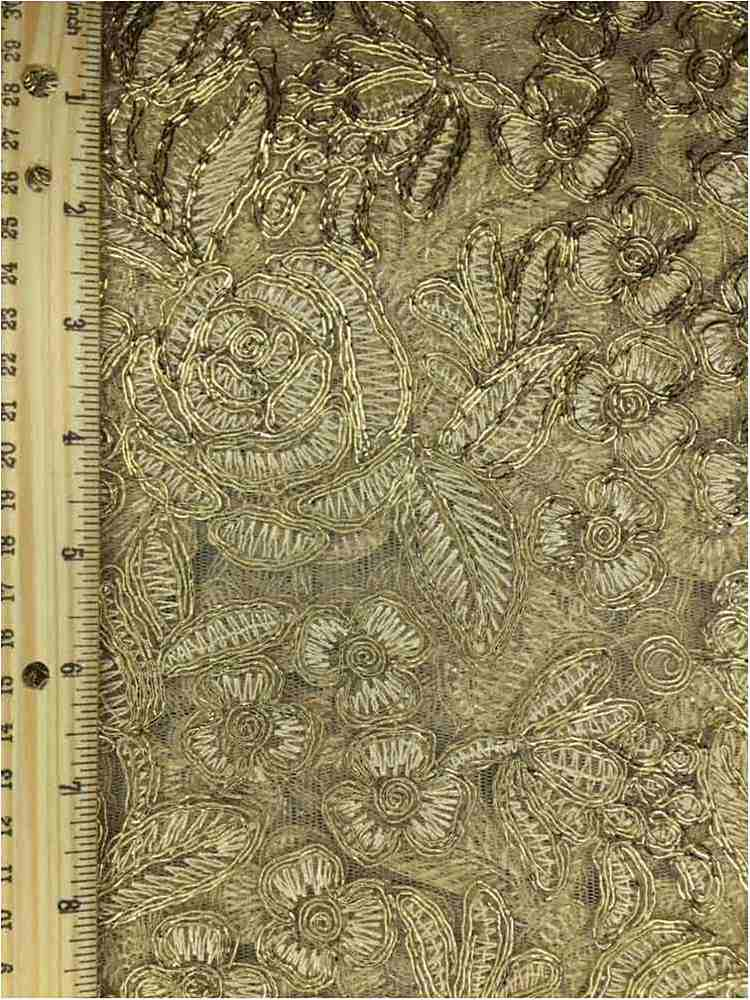 MEMB-102-3A / GOLD / MESH WITH EMBROIDERY