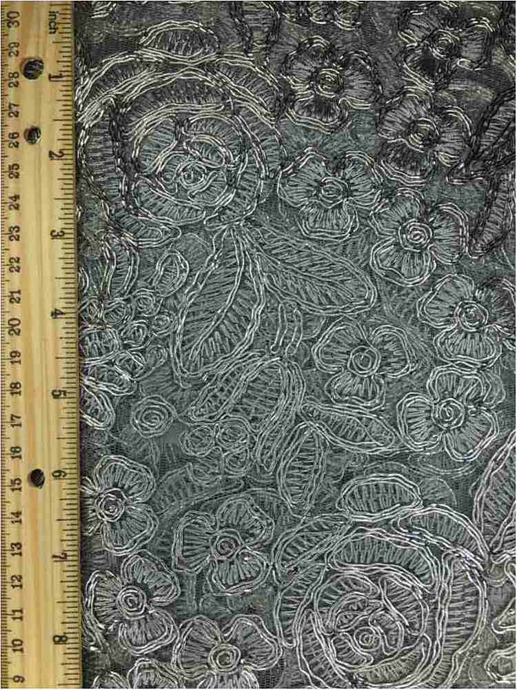 MEMB-102-3A / SILVER / MESH WITH EMBROIDERY