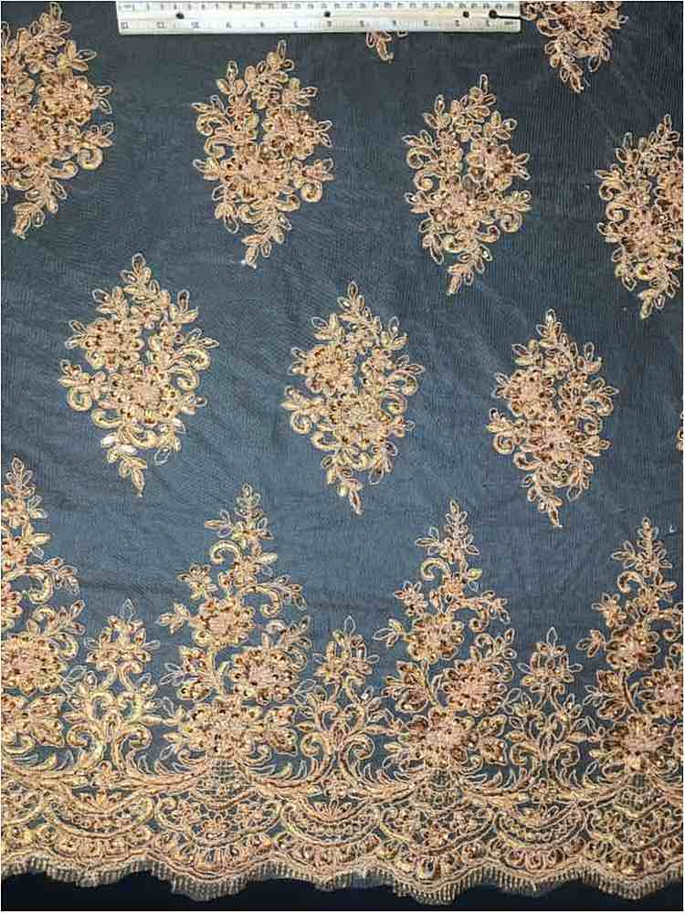 HEMB-1208D3 / 10-RUST / NYLON TULLE RAYON CORD EMBROIDERY