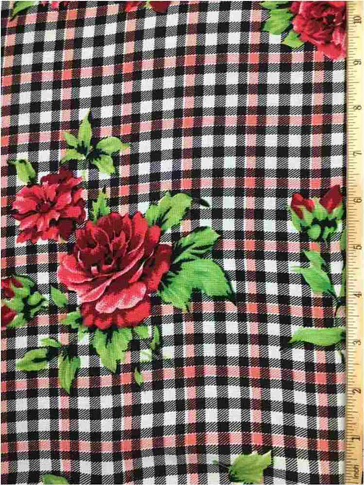 RCH-NYC171204 / 01.RED / 100% RAYON CHALLY PLAID WITH FLORAL PRINT