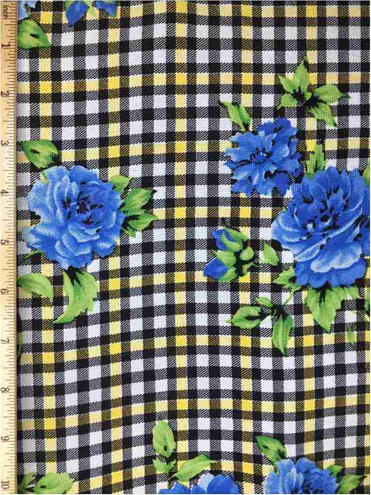 RCH-NYC171204 / 03.COBALT / 100% RAYON CHALLY PLAID WITH FLORAL PRINT