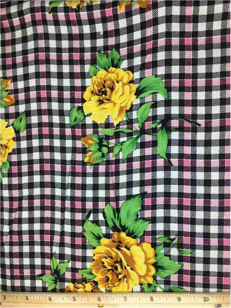 RCH-NYC171204 / 04.YELLOW / 100% RAYON CHALLY PLAID WITH FLORAL PRINT