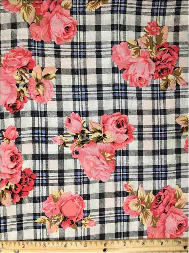 RCH-NYC171201 / 01.ROSE / 100% RAYON CHALLY PLAID WITH FLORAL PRINT