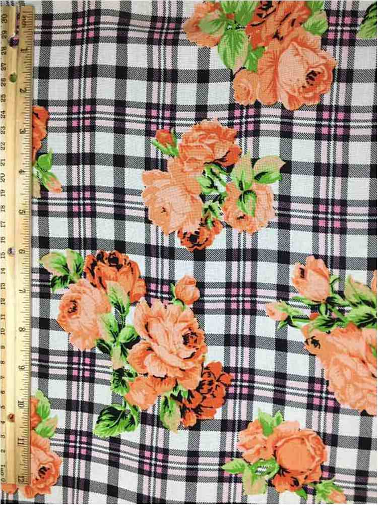 RCH-NYC171201 / 02.ORANGE / 100% RAYON CHALLY PLAID WITH FLORAL PRINT