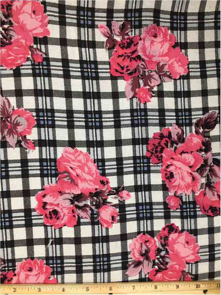 RCH-NYC171201 / 03.FUSCHIA / 100% RAYON CHALLY PLAID WITH FLORAL PRINT