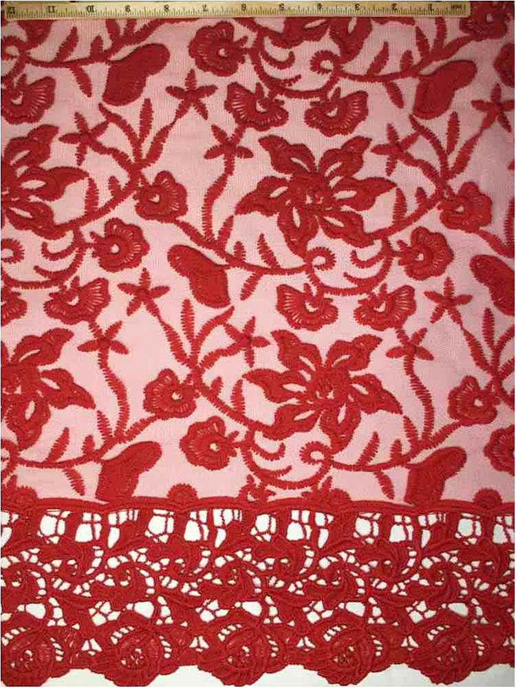 EMB-042501 / 15-RED         / MESH WITH BORDER AND EMBROIDERY ALL OVER