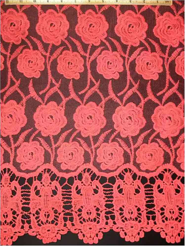 EMB-042502 / 67-CORAL         / MESH WITH BORDER AND EMBROIDERY ALL OVER