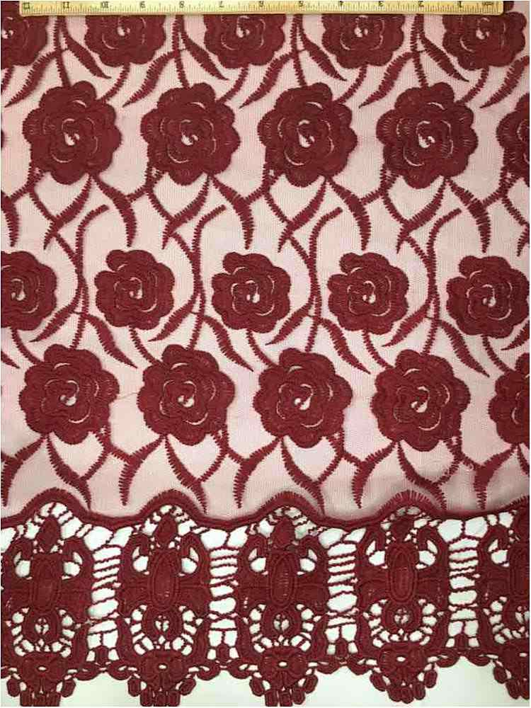 EMB-042502 / 30-BURGUNDY / MESH WITH BORDER AND EMBROIDERY ALL OVER