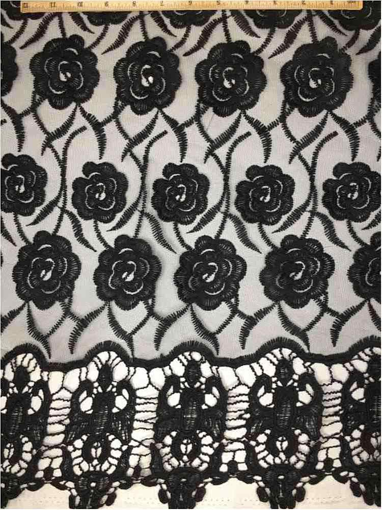 EMB-042502 / 40-BLACK         / MESH WITH BORDER AND EMBROIDERY ALL OVER
